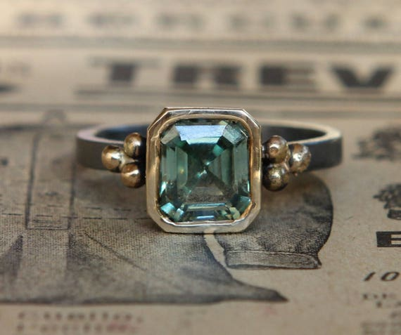 18k And Oxidized Sterling 1.8- Ct Asscher Cut Bluish Green Moissanite Solitaire Alternate Engagement Ring Sz 7