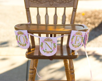 princess 1st birthday banner - gold and pink princess high chair banner - princess high chair banner - princess one banner - princess smash