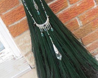 Handfasting Broom/Wedding Broom in Deep Emerald Green, Wiccan Wedding, Wedding Jump Broom, Witchcraft, Pagan Wedding Ceremony, Ritual Broom