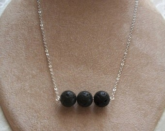 Simple Black Volcanic Lava Beads Necklace, Bar style Necklace, Essential Oil Diffuser Necklace, by Brendas Beading on Etsy