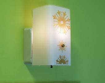 Vintage Mid Century Wall Sconce Light Fixture with Rotary Switch