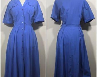 Blue Shirt Dress // Vintage Classic Blue Shirt Dress