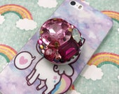 Phone Grip Holder Rhinestone Gem Decoden Bling Sparkly Glam iPhone 5 6 7 plus Android Accessories Kawaii Fairy Kei Lolita