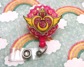 Sailor Moon Kawaii Anime Manga Cute Cosmic Heart Pink Nerd Geek Convention Retractable ID Badge Reel Work Name Tag Nurse CNA RN Technician