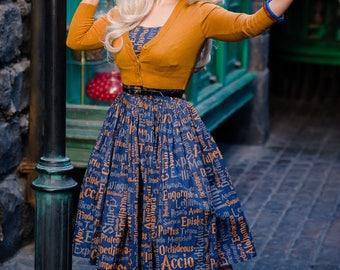 50's style Hogwarts Ravenclaw Intelligence & Wit House dress, Harry Potter, reproduction vintage.