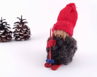 Vintage Swedish Crown Christmas Ornament, Wooly Elf Gnome Girl on Skis, Hand Made Wood Miniature Doll Figurine, Made in Sweden