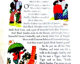 """Original """"Little Black Sambo"""" pages from The Book House, reprinted 1930's copy"""