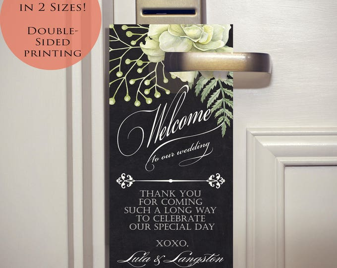 Featured listing image: Printed Watercolor Greenery Wedding Door Hangers - Chalkboard