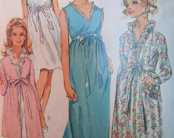 Simplicity 7957 Vintage 1960s Ruffle Trim Nightgown and Robe Pattern - Empire Waist V Neck Nightgown Pattern -  Size 8 - Bust 31 1/2
