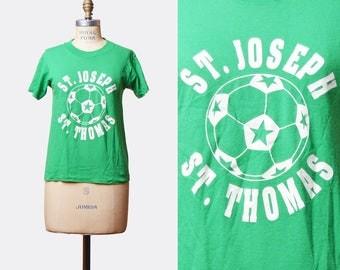 Vintage 80s St. Joseph St. Thomas Shirt Soccer Shirt Graphic Tee / 1980s Shirt Retro Tshirt Retro T Shirt Sports Green White Small Medium