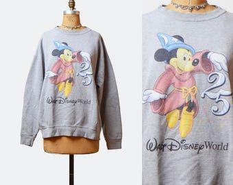 Vintage 90s Mickey Mouse Fantasia Sweatshirt Disney Sweater / 1990s Grunge Shirt Heather Gray Cartoon Vintage Hipster Retro Medium Large