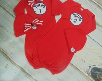 Thing 1 and Thing 2 Newborn Layette Sets-  Two Piece Layette Sets- Twins Take Home Outfits-Dr. Seuss layette