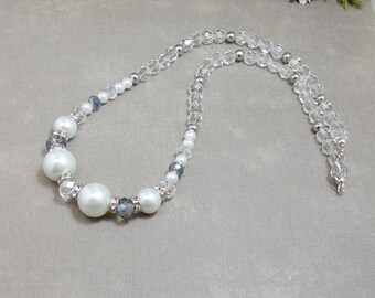 Clear Beaded Necklace - OOAK - Statement Necklace - Free US Shipping - Winter Necklace - Christmas Necklace - Elegant Necklace