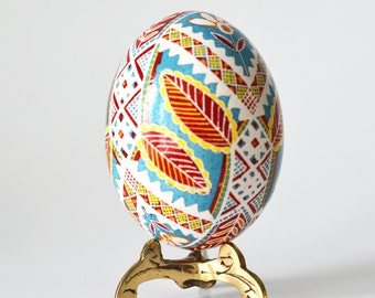 Pysanka egg in blue and red Ukrainian Easter Eggs by Katya Trischuk hand-painted 100 percent handmade from Canada beautiful Christmas gift