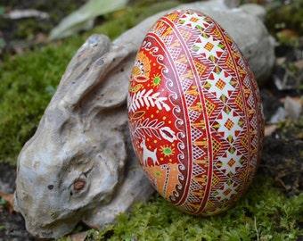 Red pysanka egg on Goose egg shell traditional Ukrainian egg hand-painted with beeswax by Toronto artist Katya Trischuk