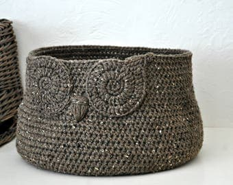 Rustic Brown Owl Basket Crocheted Bin Neutral Baby Room Decor Woodland Nursery Decor Home Organizer