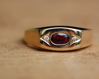 Vintage unixex ruby and diamond dress ring ∙ 14K ruby stacking ring
