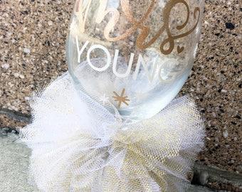 Personalized Bride Custom Name Bridal Wedding Shower Bachelorette Bridesmaid Groom Mr and Mrs Wine Glass Marriage Wedding Wine Glass