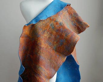 Hand felted bright blue and orange, brown scarf, merino wool