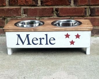 Dog Bowl with Stained top 4 inches tall with two 1 pint bowls Personalize with your pets name choose Stars, paw print or heart graphic