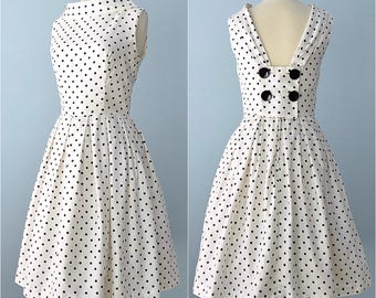 1960s Day Dress...JULIE MILLER Cotton White with Black Polka Dots Day Dress
