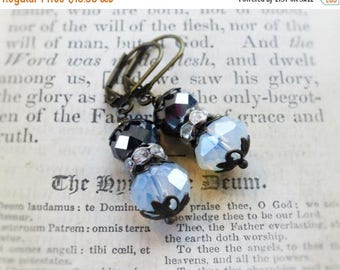 MOVING SALE Pewter and Moonstone, Pewter Gray and Glowing Moonstone Crystals ,Rhinestone Beads & Filigree Bead Caps Earrings by Hollywood Hi