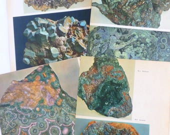 Rocks and Minerals Color Book Plates Photographs Illustrations Prints Pages Green Lot