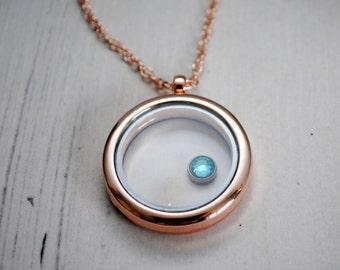 Aquamarine Charm Locket, Rose Gold Locket, Floating Charms, Love, Living Locket, Locket Necklace, Blue Crystal Charm, Keepsake, March Gift