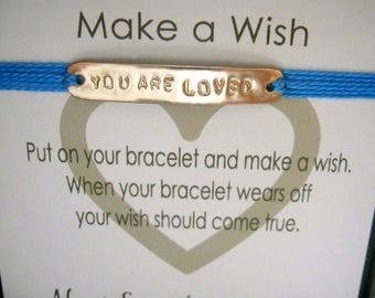 YOU ARE LOVED Personalized Message Bracelet Gold Bar Motivational Bracelet Positive Affirmation Jewelry Inspirational Gift Power Words Karma