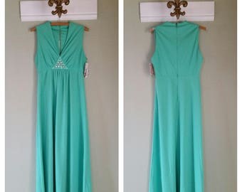 1970s Polyester Maxi Dress with Gem Accent, Mint Green, Empire Waist, 70's Gown, #60184