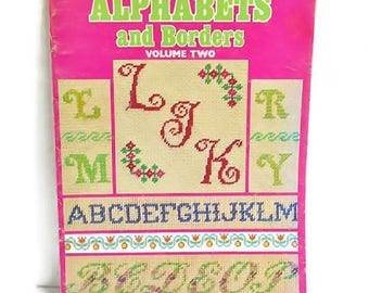 ALPHABET Embroidery Needlepoint Book Vintage 1975 Leisure Arts Working From CHARTS Several Styles Color Photos Vol 2