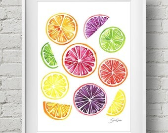 Citrus Wheels : print colorful tropical kitchen fruit watercolor painting