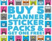 Planner Sticker Bundle - Pick and Mix, Sticker Kit, Cat Stickers, Sticker Sheets, Sticker Pack