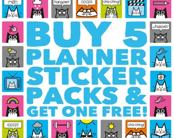 Planner Stickers Pick and Mix, Buy 5 Get One Free, Planner Sticker Bundle, Cat Stickers, Stationery