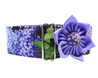 Purple Martingale Collar and Collar Flower, 1.5 Inch Martingale Collars, Greyhound Martingale Collar, Greyhound Collar, Lilac Dog Collar