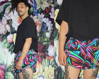 1990s Vintage Graphic Speed Short Neon Abstract Black Rainbow Tropical Surf Swim Trunk Shorts - 90s Shorts - 90s Clothing - MV0580