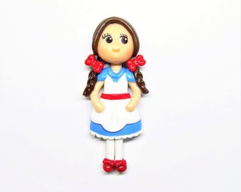 Dorothy Ornament, Pendant, Bow Center, Purse Charm, Magnet, Brooch, Necklace, Cold Porcelain Clay  Dorothy Figurine, Wizard of Oz Fan Gift