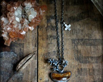 Good Medicine Necklace- Fossilized Shark Tooth, Cast Succulent, Diamond Cross - Recycled Silver, Talisman, Ancient, Rustic, Story Teller