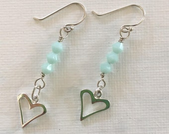 Sale - Two Pairs Sterling Silver Heart Earrings