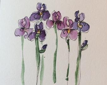 Purple Iris Watercolor Card / Hand Painted Watercolor Card