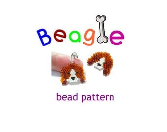 Beagle Charm Bead Pattern, Brick Stitch Beading, Cute Dog Animal