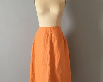 persimmon orange linen skirt || fringed linen skirt || side button midi skirt