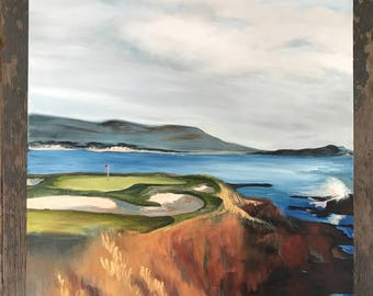 Golf with a view - Pebble Beach - oil painting - Blue and Orange - Artwork