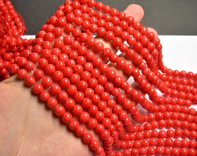 Coral salmond red - 8mm(7.7mm) round bead -  full strand  - 53 beads - A quality - RFG1393