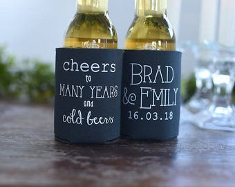 Spring Wedding Favors - Cheers to Many Years and Cold Beers Personalized Can Coolers, Destination Wedding Favors for Guests, Stubby Holders