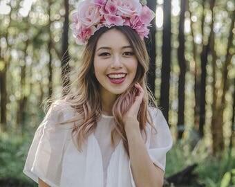 pink statement wedding flower crown // flower crown fascinator, spring racing flower crown, statement floral headpiece headband