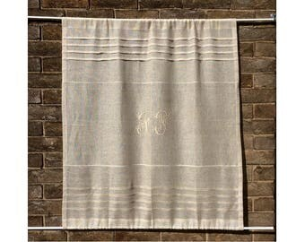 Natural Sheer Linen Panel, Sidelight Curtain, Monogram Front Entrance Door Panel, Glass French Door Privacy Curtain