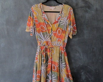"80s Indian Gauze Dress Tropical Floral Midi High Waist Belted Semi Sheer Dress Ladies Size S/M  28"" waist"