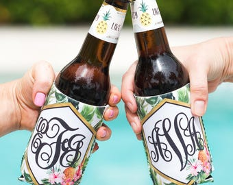 Bridal Party Gifts Party Favors Tropical Drink Insulator Coolers Monogram Birthday Bachelorette Banana Leaf Beach Pool Party (Item - KTM800)