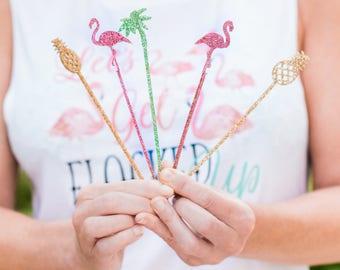 Party Stir Sticks, Bachelorette Bridal Shower Tropical Flamingo Pineapple Party Drink Stirrer Bar Decor for Party Decor (Item - TRS110)